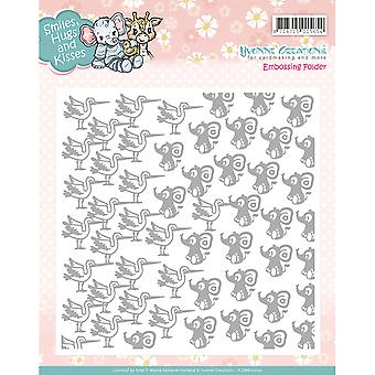 Find It Trading Yvonne Creations Embossing Folder-Smiles, Hugs And Kisses YEM10002