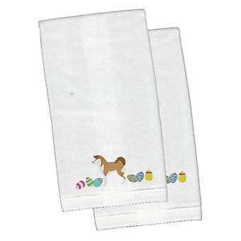 Akita påske hvit brodert plysj hånd håndkle sett med 2