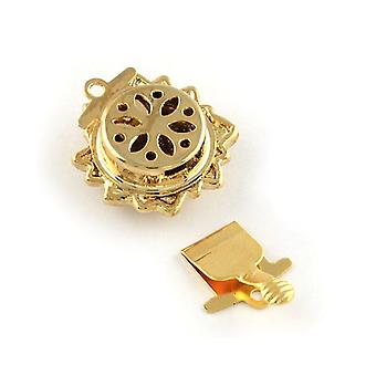 Packet 4 x Pale Gold Metal Alloy Flower Box Clasps 17 x 21mm Y03980