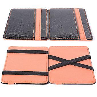 Uomini e di donne dono magico credito ID Card soldi elastico Clip sottile cassa portafoglio arancione