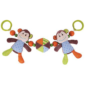 Bigjigs Toys Soft Plush Cheeky Monkey Clip On Pram String Buggy Baby Newborn