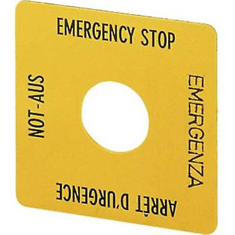 Label square (L x W) 50 mm x 50 mm EMERGENCY STOP Yellow Eaton SQT1 1 pc(s)