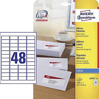 Avery-Zweckform Address labels, All-purpose labels J4791-25 45.7 x 21.2 mm Paper White 1200 pc(s)