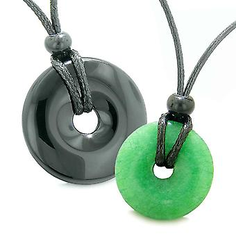 Large and Small Lucky Coin Donuts Amulets Love Couples Black Agate Green Quartz Charms Necklaces