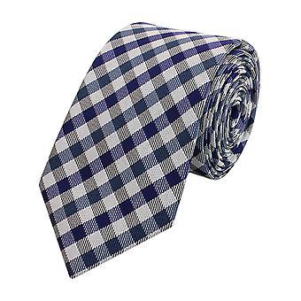 Schlips Krawatte Krawatten Binder Schmal 6cm Lila/Blau/Grau Karo Fabio Farini