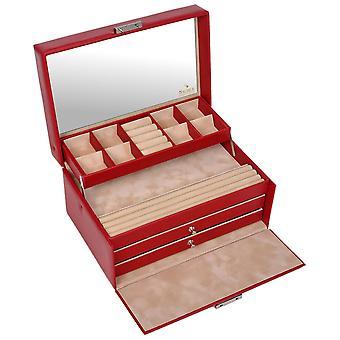 مربع زاخر مجوهرات مجوهرات حالة الإدراج قابل دولارينو أحمر