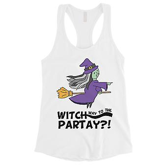 Witch Way To Partay Womens White Tank Top