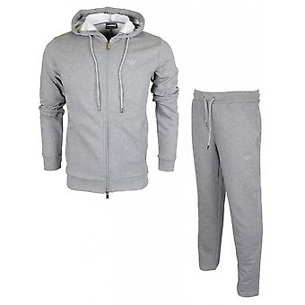 Emporio Armani Cotton Zip Up Hooded Grey Tracksuit