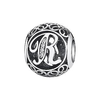 Sterling silver charm with zirconia stones letter R