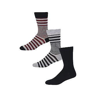 Ben Sherman Men's 3 Pack Everyday Calf Socks Navy Grey Stripey Prince Regent