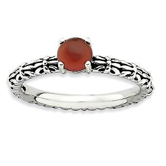 2.5mm Sterling Silver Prong set Antique finish Stackable Expressions Antiqued Red Agate Ring - Ring Size: 5 to 10