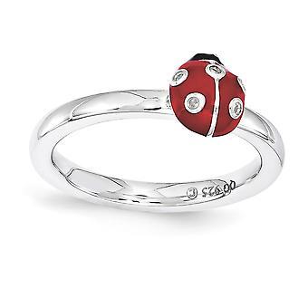 2,25 mm sterlingsilver polerad röd emalj rodium-plated stapelbar uttryck röd och svart emalj med diamantring -