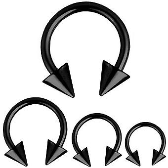 Circular Barbell Horseshoe Piercing Spikes Black, Body Jewellery, Thickness 1,6 mm | Diameter 8 - 14 mm