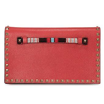 Valentino Rockstud Clutch Purse in Red
