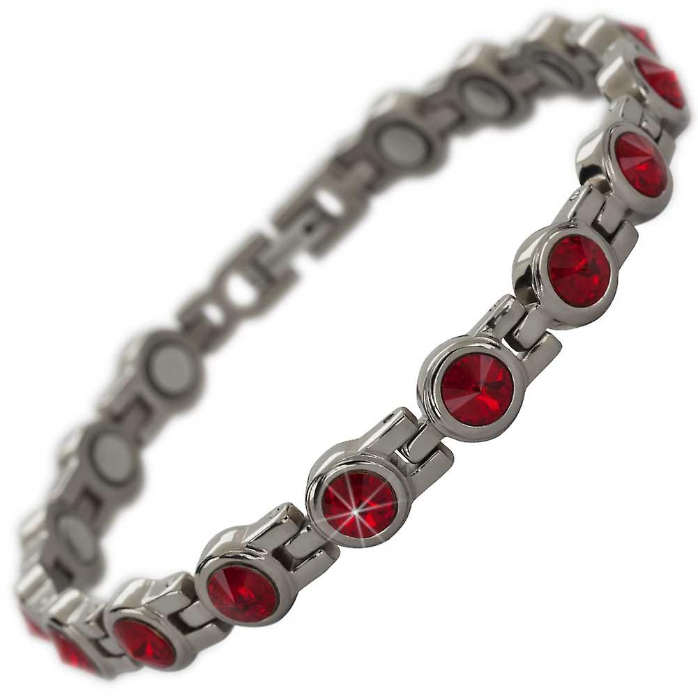 MPS® NORTHIA Titanium Magnetic Bracelet with Red Crystals + Resizing Tool