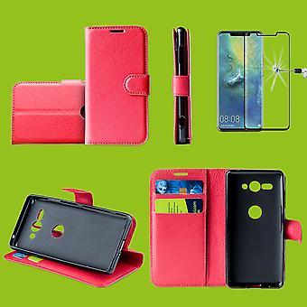 Bolsa de funda la Huawei P30 bolsillo carpeta premium rojo protección manga + 0,3 mm H9 4 d completo curvado vidrio duro