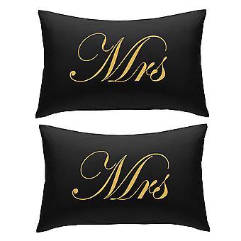 أسود مع السيدة الذهب ووسادات السيدة