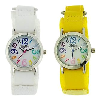 Reflex Kids White Dial Colourful Digits Easy Fasten Fabric Strap Watch Set of 2