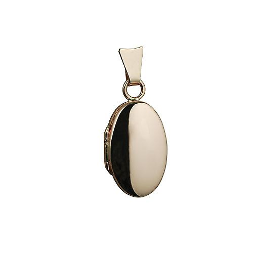 9ct Rose Gold 18x11mm plain oval Locket