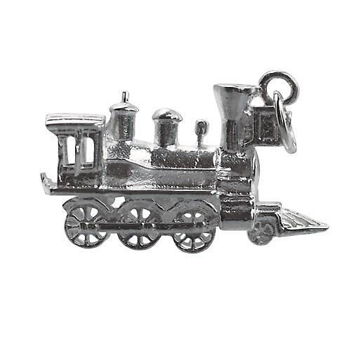Silver 16x27mm solid Steam Locomotive charm