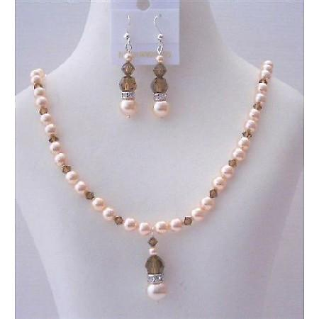 Peach Pearls Swarovski Smoked Topaz Crystals Handcrafted Necklace Set
