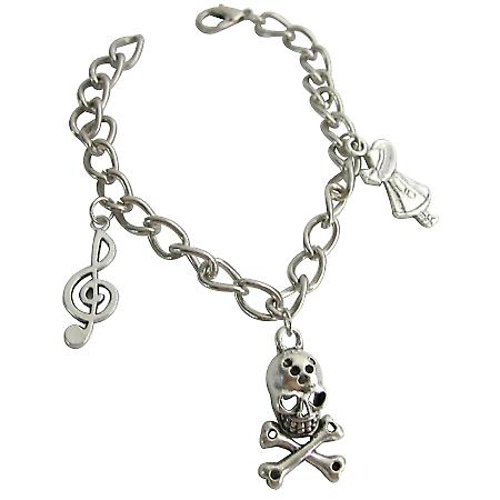 Skeleton Charm Bracelet Dangling Unique & Stylish Bracelet