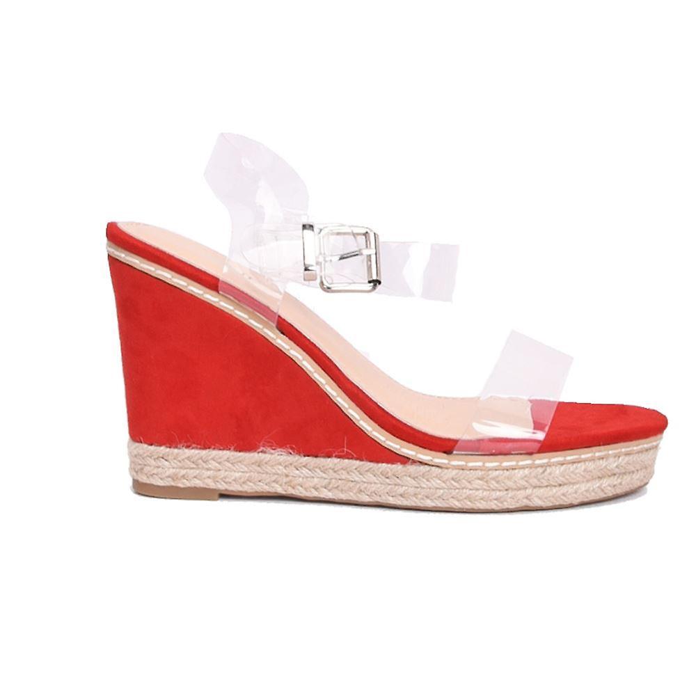 d6525d6fb41 Perspex Platform Espadrille Wedge Sandals Suede Red