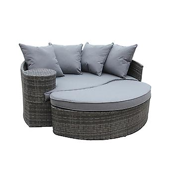 Charles Bentley Rattan Day Bed With Foot Stool And Table-Grey