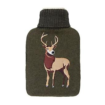 Aroma Home Stag Olive Knitted Cover 2L Hot Water Bottle