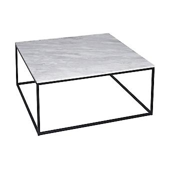 Gillmore Space White Marble And Black Metal Contemporary Square Coffee Table