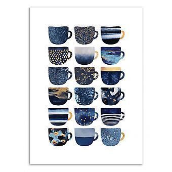 Art-poster-Pretty Blue kaffe koppar-Elisabeth Fredriksson 50 x 70 cm