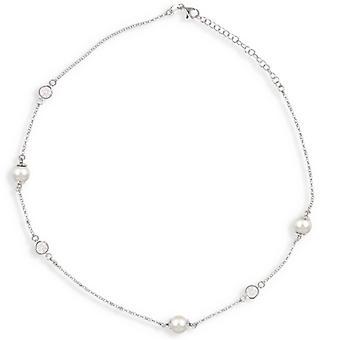 Rhodié Silver Halsband med vit pärla och Cubic zirconia 40-5cm