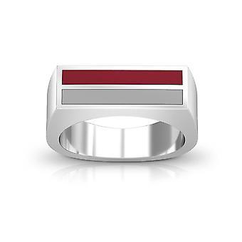 Troy University - Enamel Ring In Dark Red And Grey