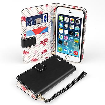 Caseflex iPhone 6 and 6s LeatherEffect Wallet Case – Black with Floral Lining