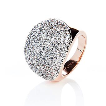 925 Sterling Silver Statement Cocktail Ring Ball Shape Rosegold White CZ M/P