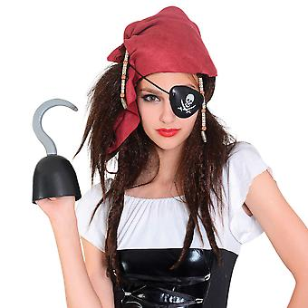 Bristol Novelty Womens/Ladies Pirate Wig With Bandana And Eyepatch