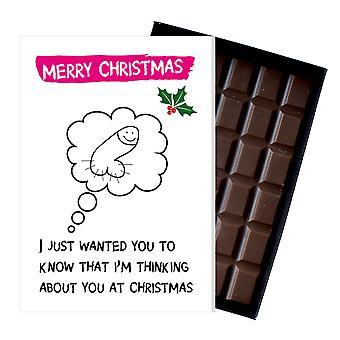 Funny julklapp för kvinnor flickvän choklad Xmas gratulationskort närvarande för henne OD129