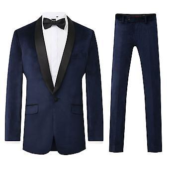 Dobell Mens Navy Velvet 2 Piece Tuxedo Slim Fit Contrast Shawl Lapel