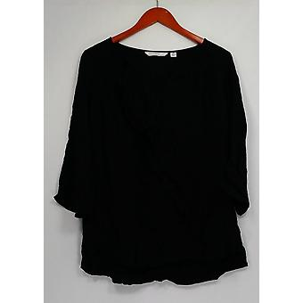 Isaac Mizrahi Live! Ruffle Front 3/4 Sleeve Woven Top Black A260872