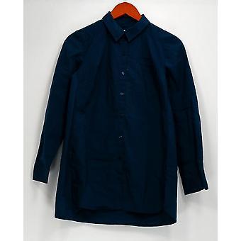 Denim et Cie Top XXS Stretch Poplin Big Shirt w/ Curved Hem Blue A267912