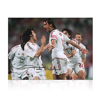 Paolo Maldini Signed AC Milan Photo: Champions League Goal