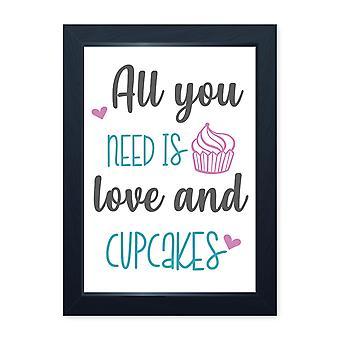 Kærlighed og cupcakes, kvalitet indrammet print-hjem køkken bake Cook Cafe