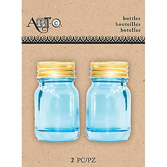 Art-C Mini Glass Bottles-Mason Blue, 2/Pkg MINBOT-24499