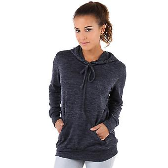 KRISP  Womens Soft Marl Knit Hoodie Hooded Loose Baggy Jumper Sweater Top Sweatshirt