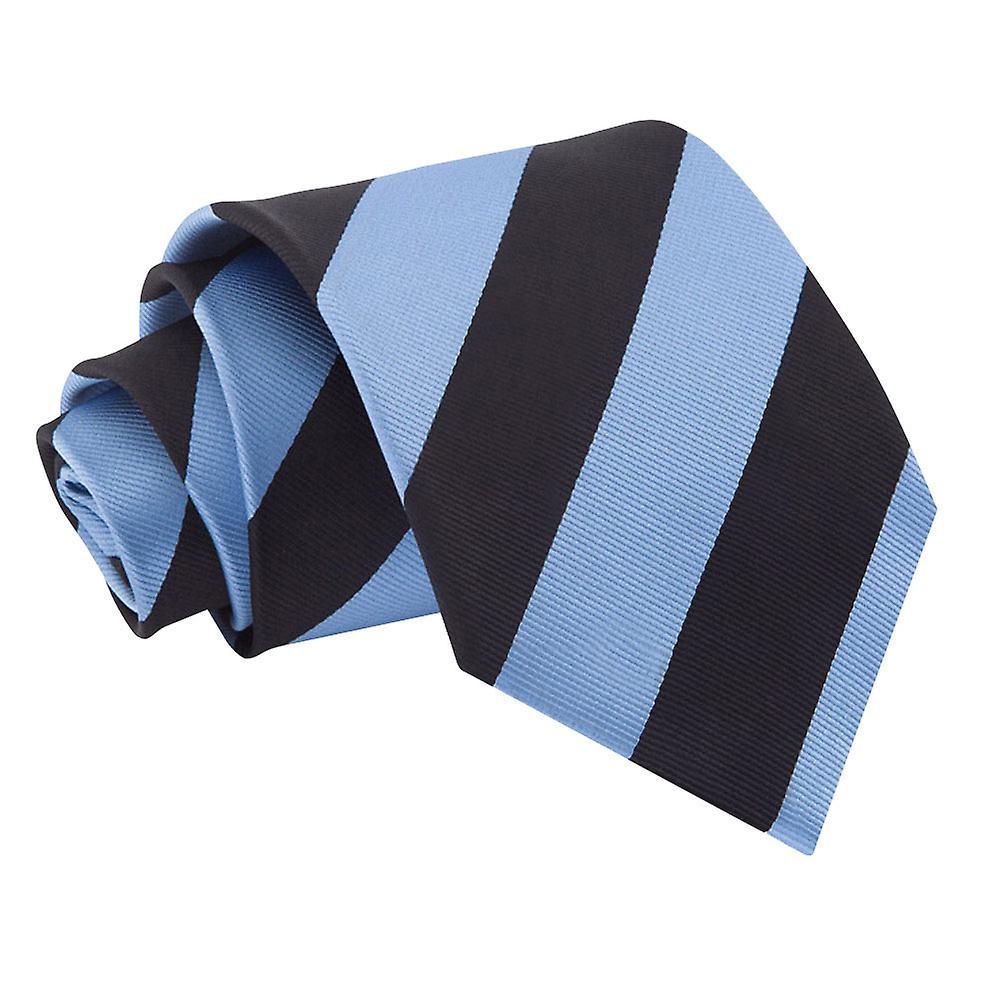 Striped Baby Blue & Black Tie
