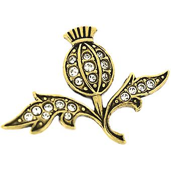 Cavendish French Antique Gold  and  Austrian Crystal Thistle Lapel Pin
