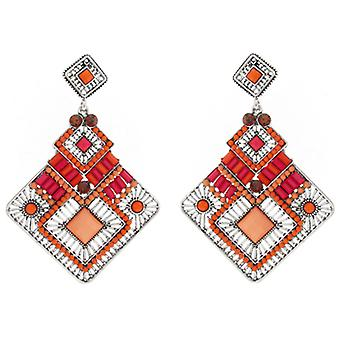 Large Silver Orange & Pink Bead Diamond Drop Earrings