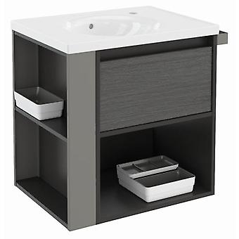 Bath+ 1 Drawer Cabinet + Shelf + porcelain sink Anthracite Slate-Grey-60