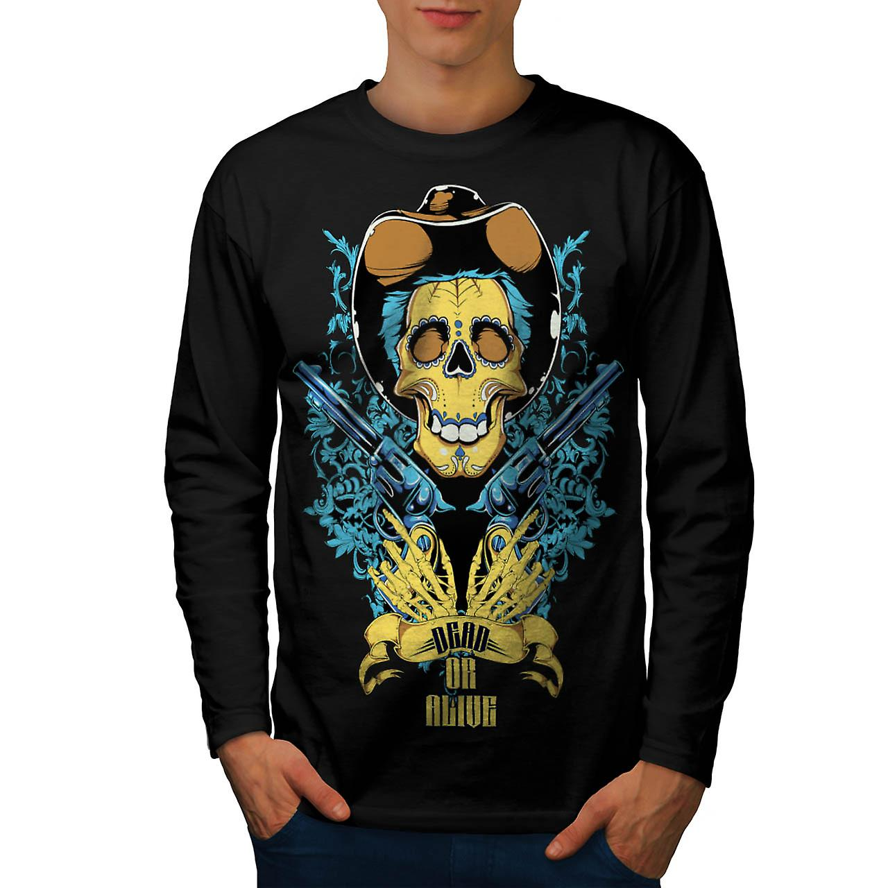 Dead Or Alive Skull Cowboy Gun Men Black Long Sleeve T-shirt | Wellcoda