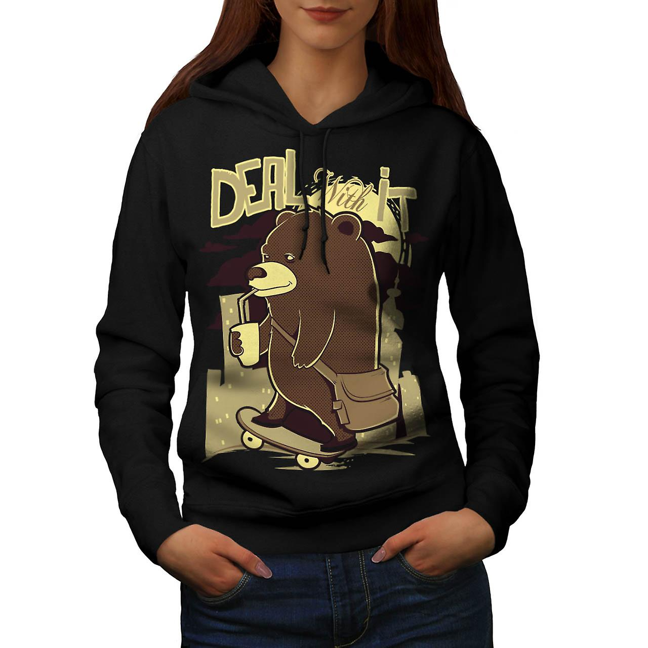 Deal With It Skater Happy Bear Women Black Hoodie | Wellcoda